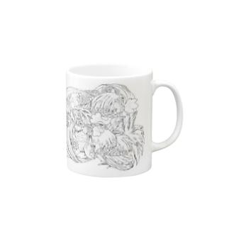 日本の美 葛飾北斎「群鶏」モノクロ版 Mugs