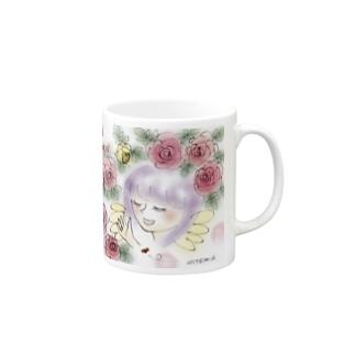Ang27エンジェルと薔薇の花 Mugs