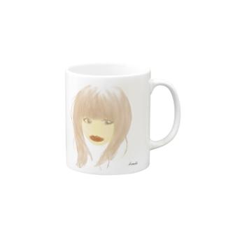 口紅が目立つ女 Mugs