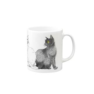 白猫と黒猫 Mugs