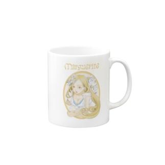 美女とマーガレット(背景なし) Mugs