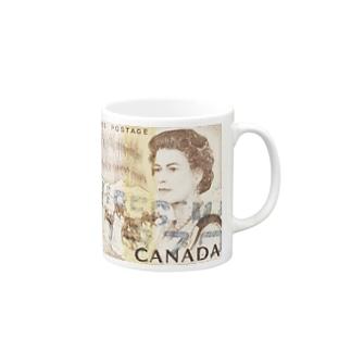 カナダの切手:エリザベス女王とイヌ橇 Mugs