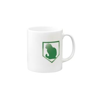 Enlightened Green Cat Mugs