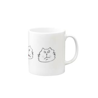 にらめっこ しろ Mugs