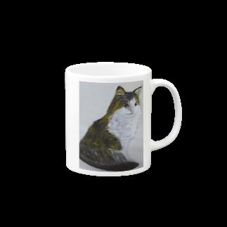 タコ夜勤@スタンプ制作致しますの猫のデザイン 油絵 Mugs
