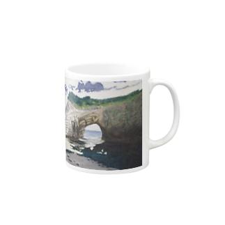 海辺のデザイン 油彩風 マグカップ