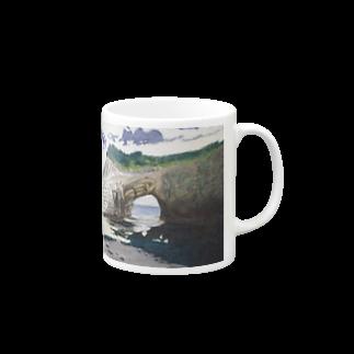 タコ夜勤@スタンプ制作致しますの海辺のデザイン 油彩風 マグカップ