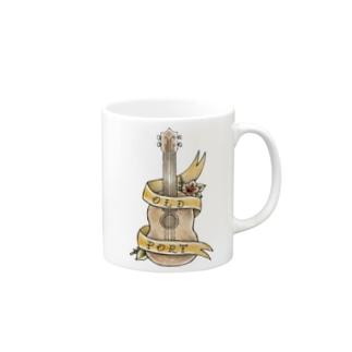 old-port×orangeribbon Mugs