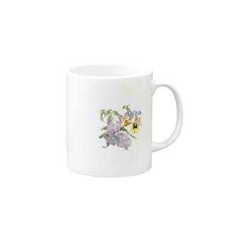 ヴィオラ、パンジー、勿忘草 Mugs