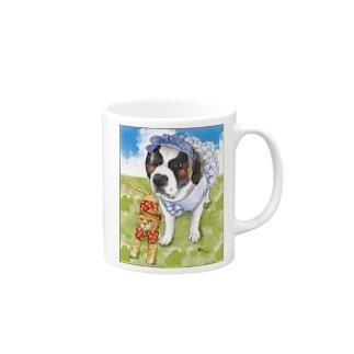 セントバーナード&茶トラ猫 Mugs