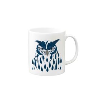 フクロウ・藍 マグカップ