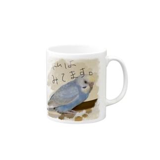 ペアカップ  インコ ブルー Mugs