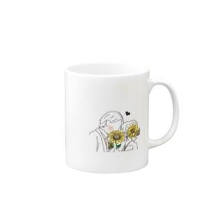 向日葵で隠してる Mugs