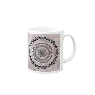 曼荼羅 on マーブル模様 6 Mugs