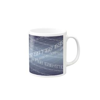 電脳空間 青 Mugs