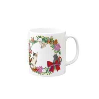 3匹の猫のクリスマスリース Mugs