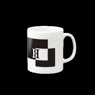シンプルデザイン:Tシャツ・パーカー・スマートフォンケース・トートバッグ・マグカップのシンプルデザインアルファベットHマグカップ