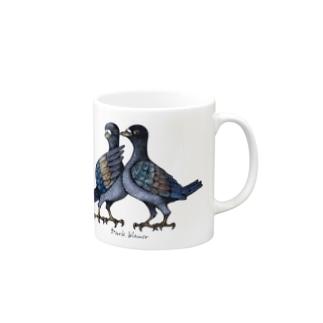 "Dark blanco ""Pigeons"" Mugs"