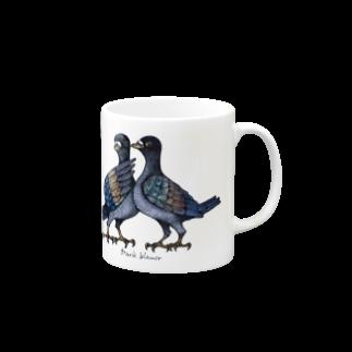 "Dark blanco ""Pigeons"" マグカップ"
