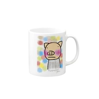カラフルなへんてこなぶた Mugs