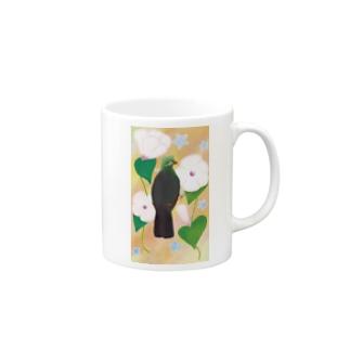 見返り美鳥(ギニアエボシドリ)カラフル背景① Mugs