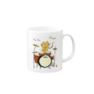 ドラムを叩く猫カラーver. Mugs