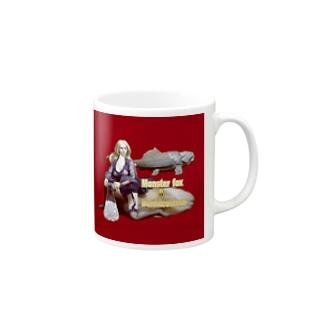 ドール写真:ブロンドの妖狐と甲冑魚 Doll picture: Blonde monsterfox & Dunkleosteus Mugs