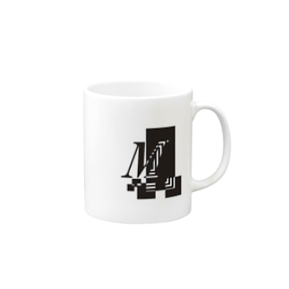 シンプルデザインアルファベットMワンポイント Mugs