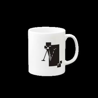 シンプルデザインアルファベットNワンポイント マグカップ