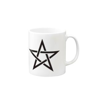 五芒星(黒) Mugs
