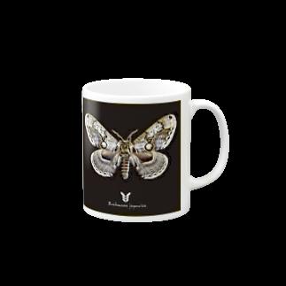 黒猫デザインのイボタガ 黒 Mugs