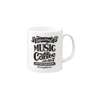 りすカフェ7(黒ロゴ) Mugs