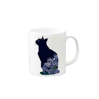 6月(黒猫紫陽花) Mugs