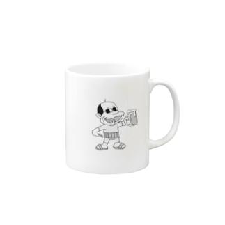 manabiyaのオヤジ麦酒(モノクロ) Mugs