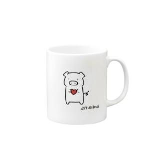 ぶたさん (ハート) Mugs
