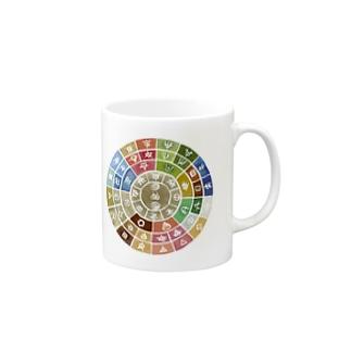 五元素フトマニ(ヲシテ文字) Mugs