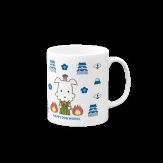 HAPPYDOG製作所@SUZURI支店のHAPPY DOG WORKS 忍者&武士_模様A マグカップ