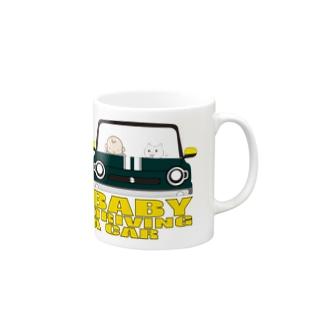 BABY DRIVING A CAR 2 Mugs