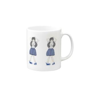ブルーな女の子 Mugs