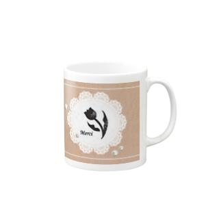 チューリップ✖︎シルエット・朱鷺色 Mugs