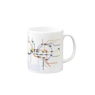名古屋路線図風 Mugs