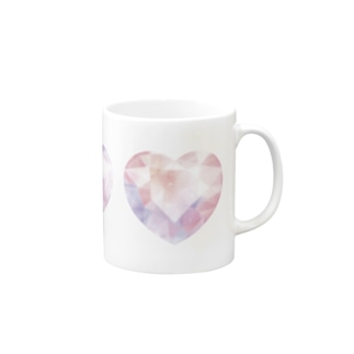 Polygon Heart Diamond #Pink Mugs