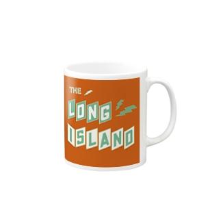 平行四辺形デザイン グリーン×ホワイト×オレンジ Mugs