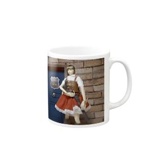 人形写真:冒険者ギルド「銀の船」の前に立つ美少女冒険者 Doll picture: Pretty adventurer at the guild Mugs