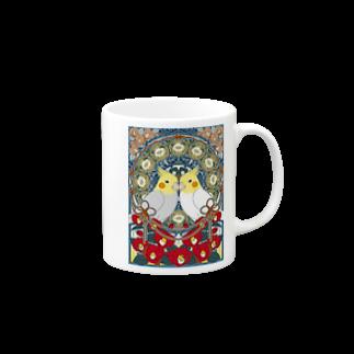 オカメインコ椿【まめるりはことり】 マグカップ