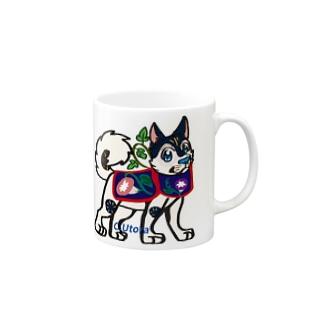 犬はりこ風味の犬とアサガオ  Mugs
