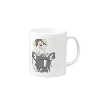 犬と少女 マグカップ