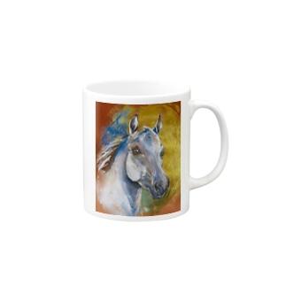 葦毛色のアラビアンホース Mugs