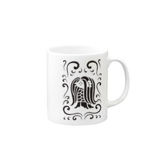 アマビエ様と波・黒 Mugs
