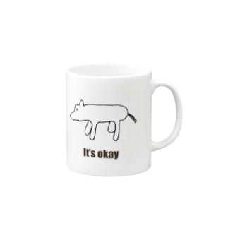 シロクマに見える犬「It's okay」 Mugs